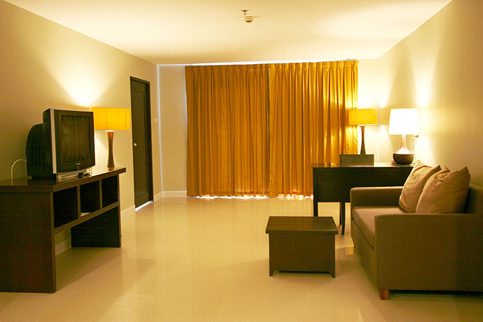 Hotel room with living room